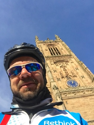 My ugly mug and Derby Cathedral spire...