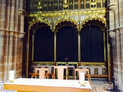 The screened off area where Richard III will be reinterred on March 22nd.